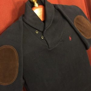 Mens Ralph Lauren Polo Sweater w/ Suede Patch